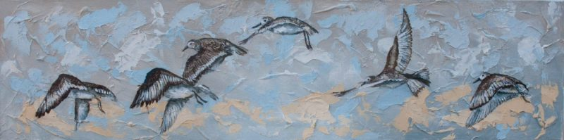 FLYING-SANDPIPERS-100x25cm-Acrylic-on-Canvas